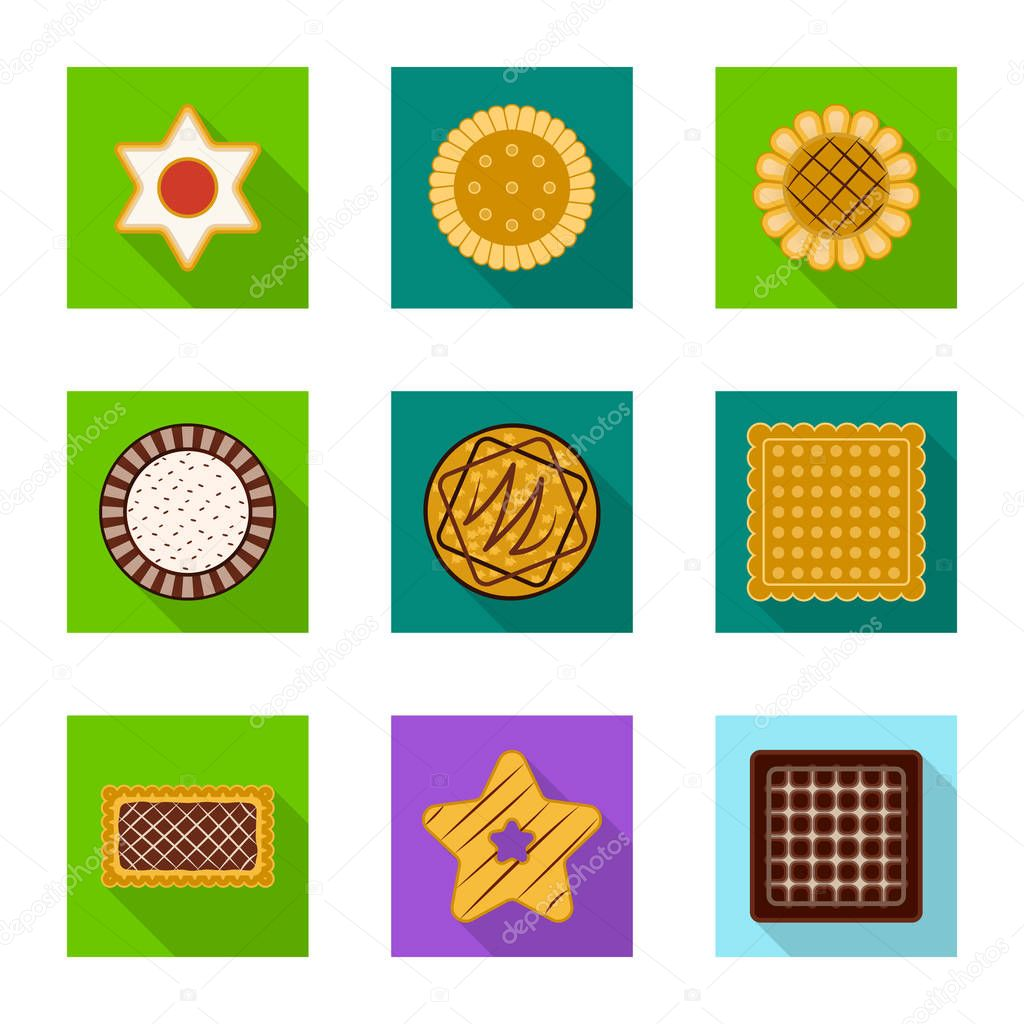 Vector design of biscuit and bake sign. Set of biscuit and chocolate stock symbol for web.