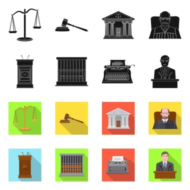 Vector design of law and lawyer icon. Set of law and justice stock vector illustration.