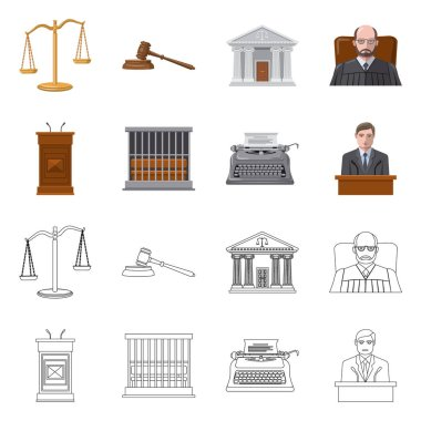 Isolated object of law and lawyer logo. Collection of law and justice stock vector illustration.