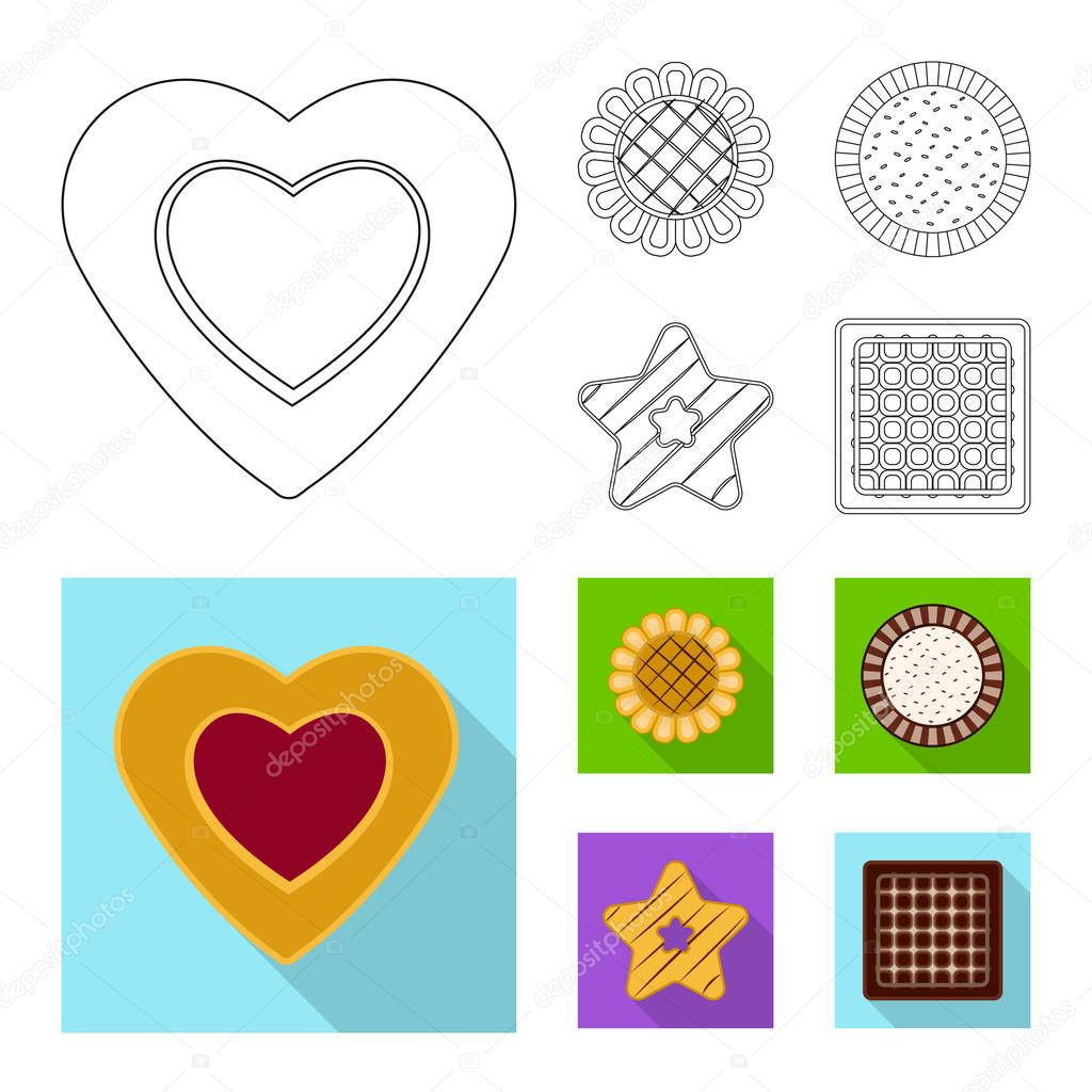 Vector design of biscuit and bake icon. Set of biscuit and chocolate stock vector illustration.