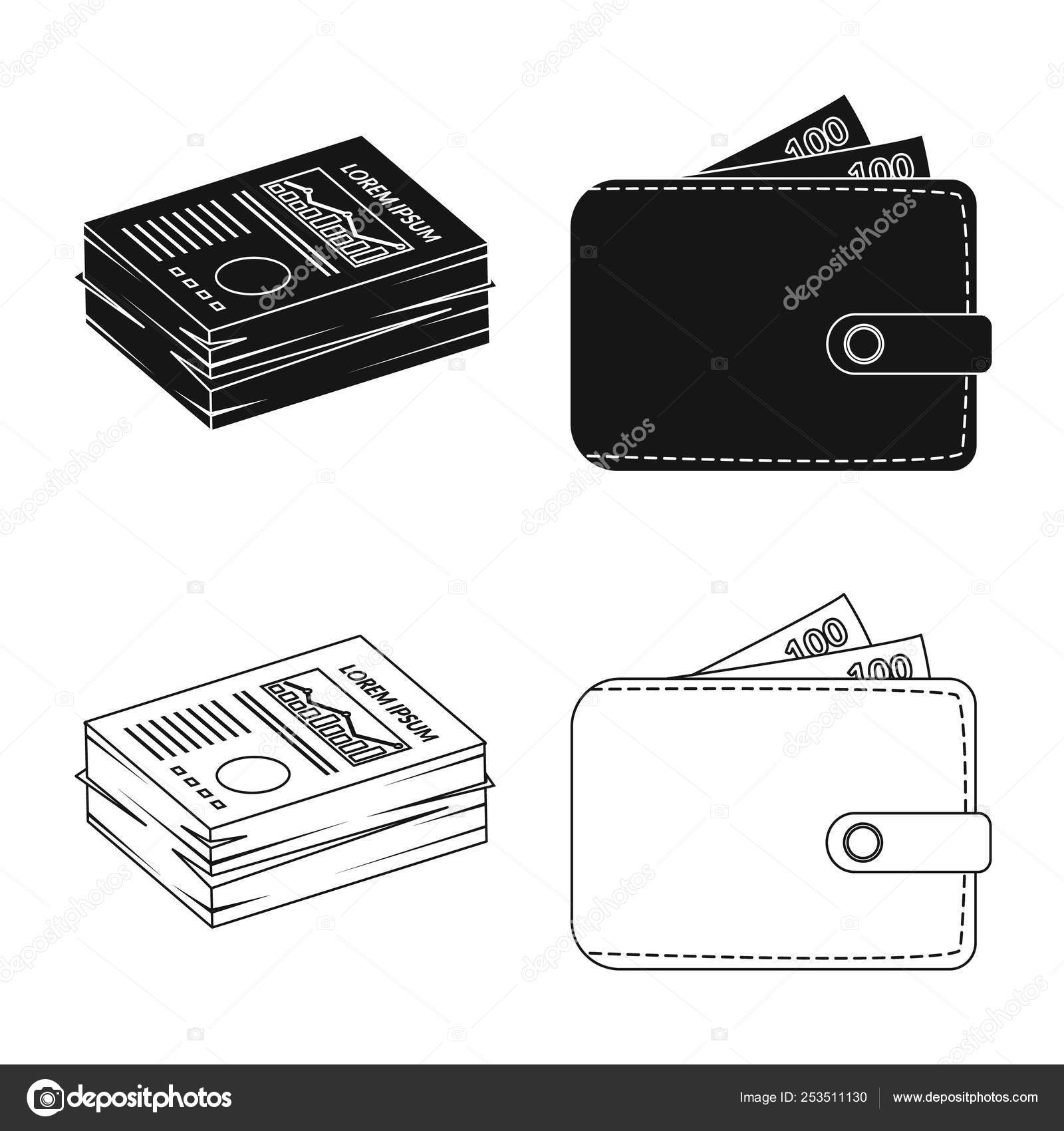 Design On Stock Bank.Vector Design Of Bank And Money Sign Set Of Bank And Bill Vector