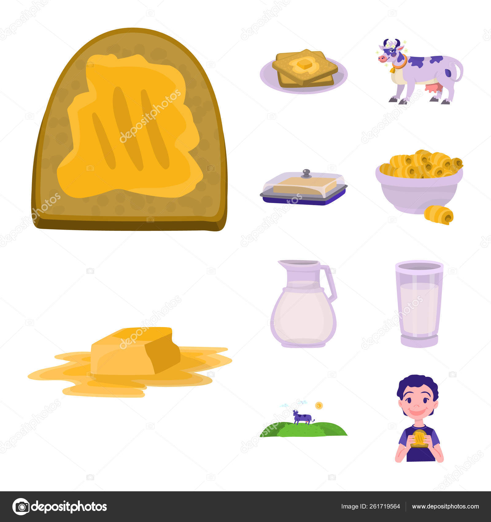 Vector illustration of food and dairy icon  Collection of
