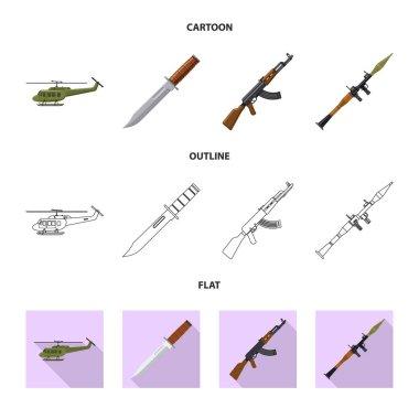 Vector illustration of weapon and gun logo. Collection of weapon and army stock vector illustration.