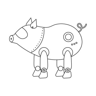 Vector illustration of pig and robotic logo. Collection of pig and cybernetics vector icon for stock.