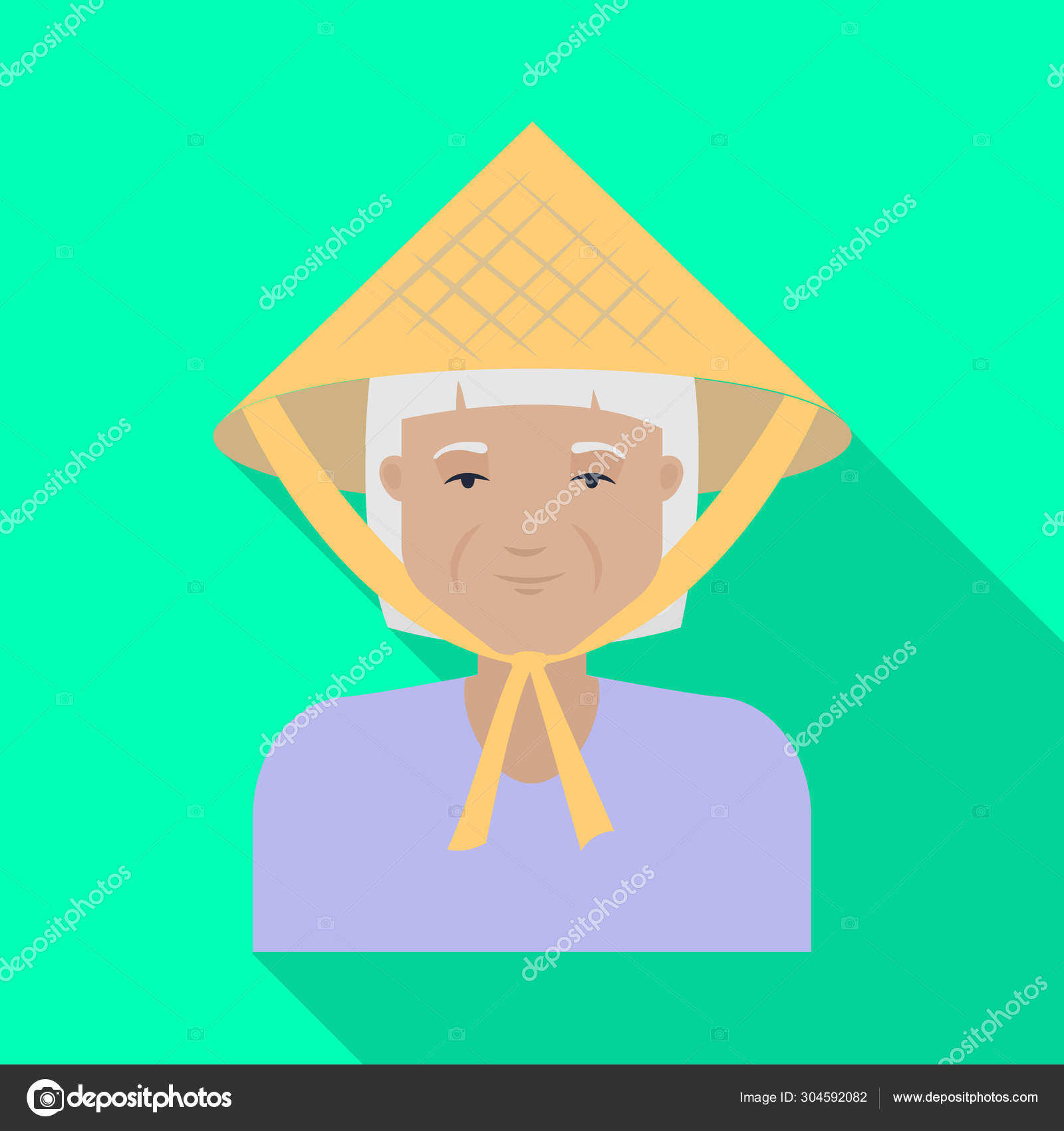 Vector illustration of vietnamese and girl symbol