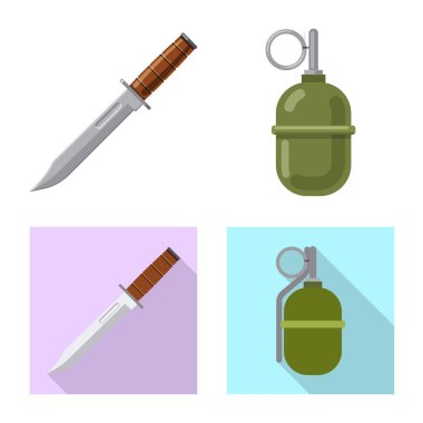 Vector illustration of weapon and gun symbol. Set of weapon and army vector icon for stock.