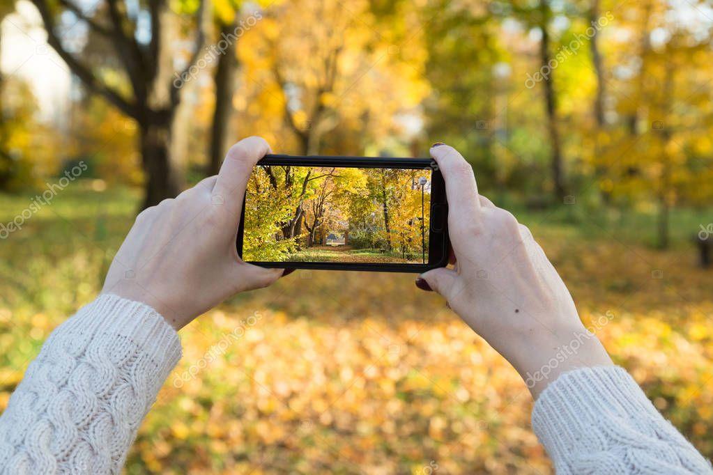 A girl photographs the autumn park on a smartphone