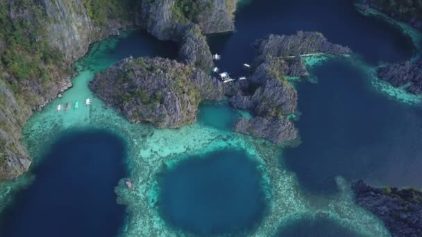 Drone footage over Twin Lagoon and the amazing blue hole at Coron Island in Palawan