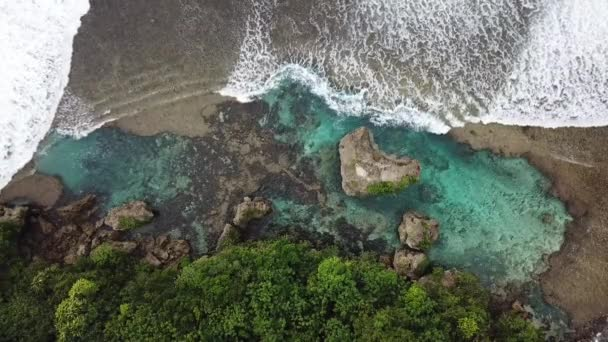 Amazing top-down drone footage of the Magpupungko Tide Pool at low tide in Siargao, Philippines