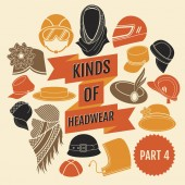 Fotografie Kinds of headwear. Part 3. Flat icons