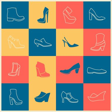 multicolor flat icons of different kinds of shoes