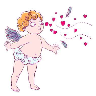 Valentine's day. Cupid-boy in cloud pants and blowing kisses and hearts. Vector illustration isolated on white background. Card. T-shirt print. stock vector