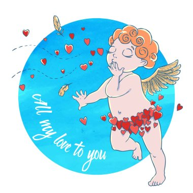 Valentine's day. Cupid-boy in heart pants and blowing kisses and hearts on watercolor circle. Vector illustration isolated on white background. Card. T-shirt print. stock vector
