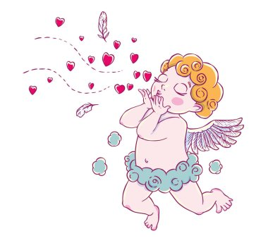Valentine's day. Cupid-boy cloud pants knelt and blowing kisses and hearts. Vector illustration isolated on white background. Card. T-shirt print. stock vector