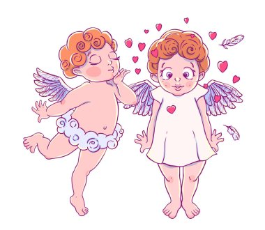 Valentine's day. Cupid-boy cloud pants blowing kisses and hearts to surprised girl. A pair of angels. Vector illustration isolated on white background. Card. T-shirt print.