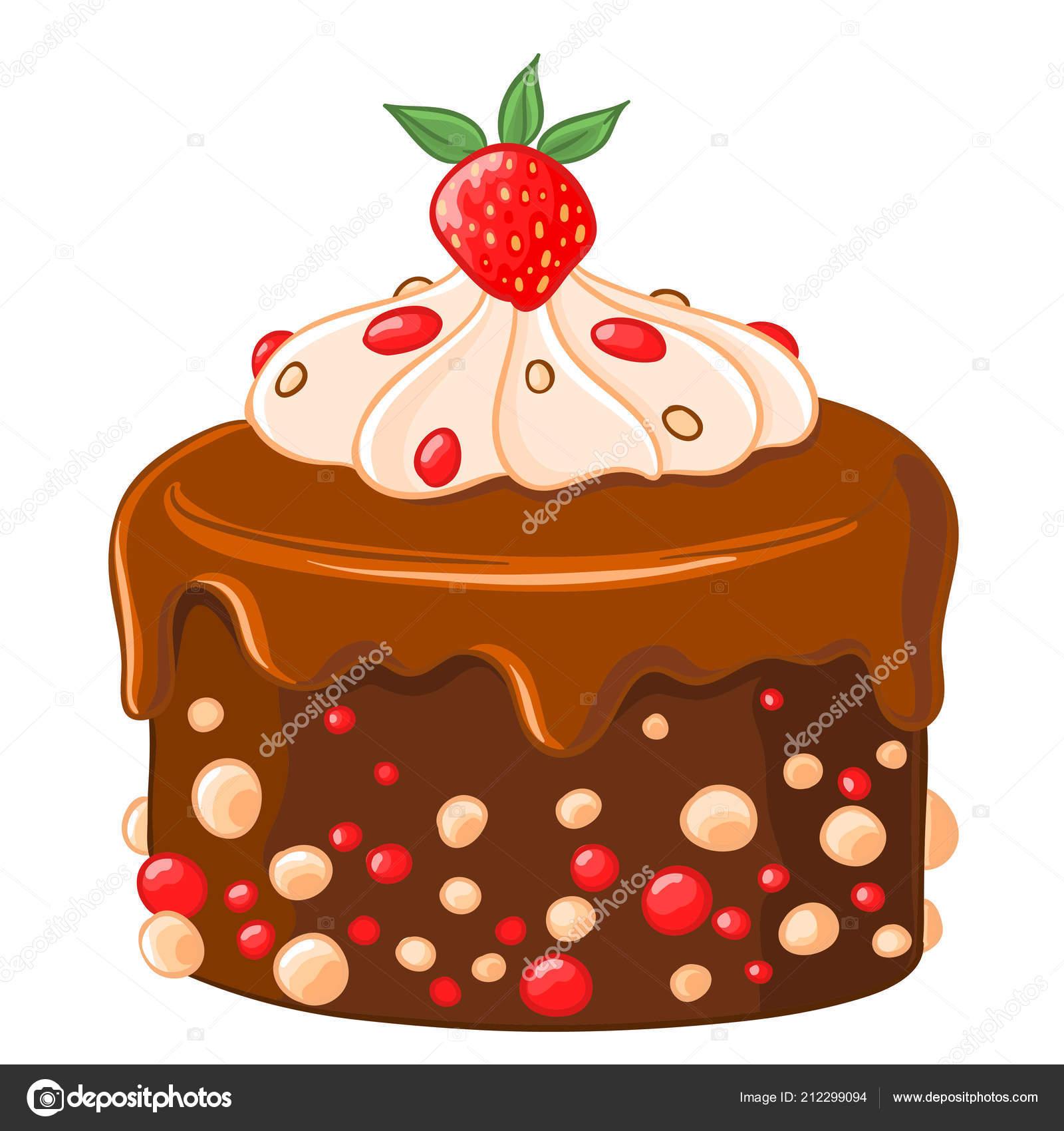 Cartoon Symbol Schokolade Kaffee Kuchen Mit Karamell Sirup Erdbeeren