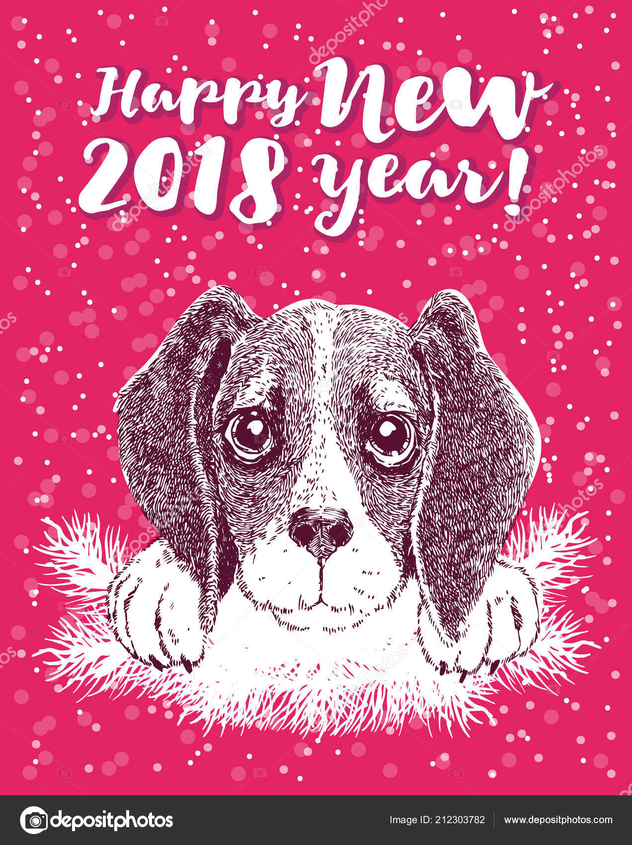 Happy new year greeting card vector portrait funny dog antler happy new year greeting card vector portrait funny dog antler stock vector m4hsunfo