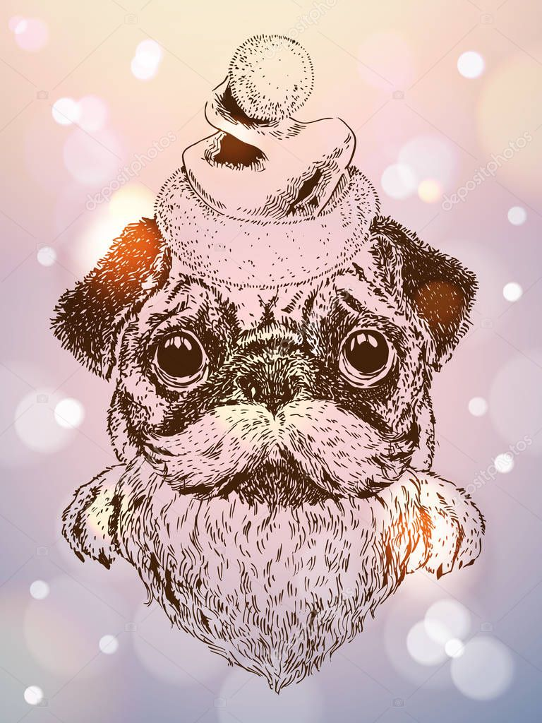 Vector Sketch Of Cute Pug Puppy With Santa Hat Moustache And Beard New Year Christmas Design Card T Shirt Print Sparkly Backround Premium Vector In Adobe Illustrator Ai Ai Format