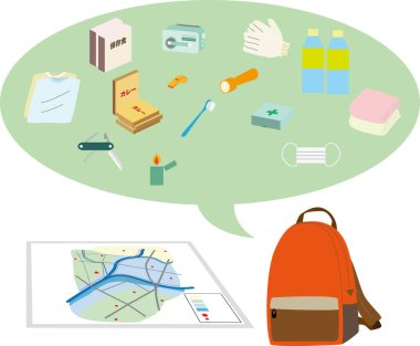 Illustration of disaster hazard map and disaster prevention goods.