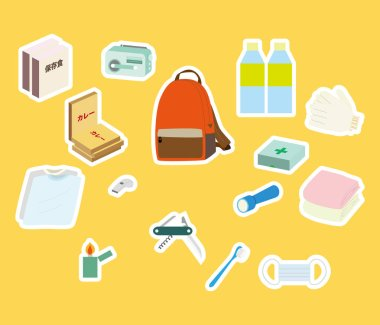 Illustration of a set of emergency carry bags.