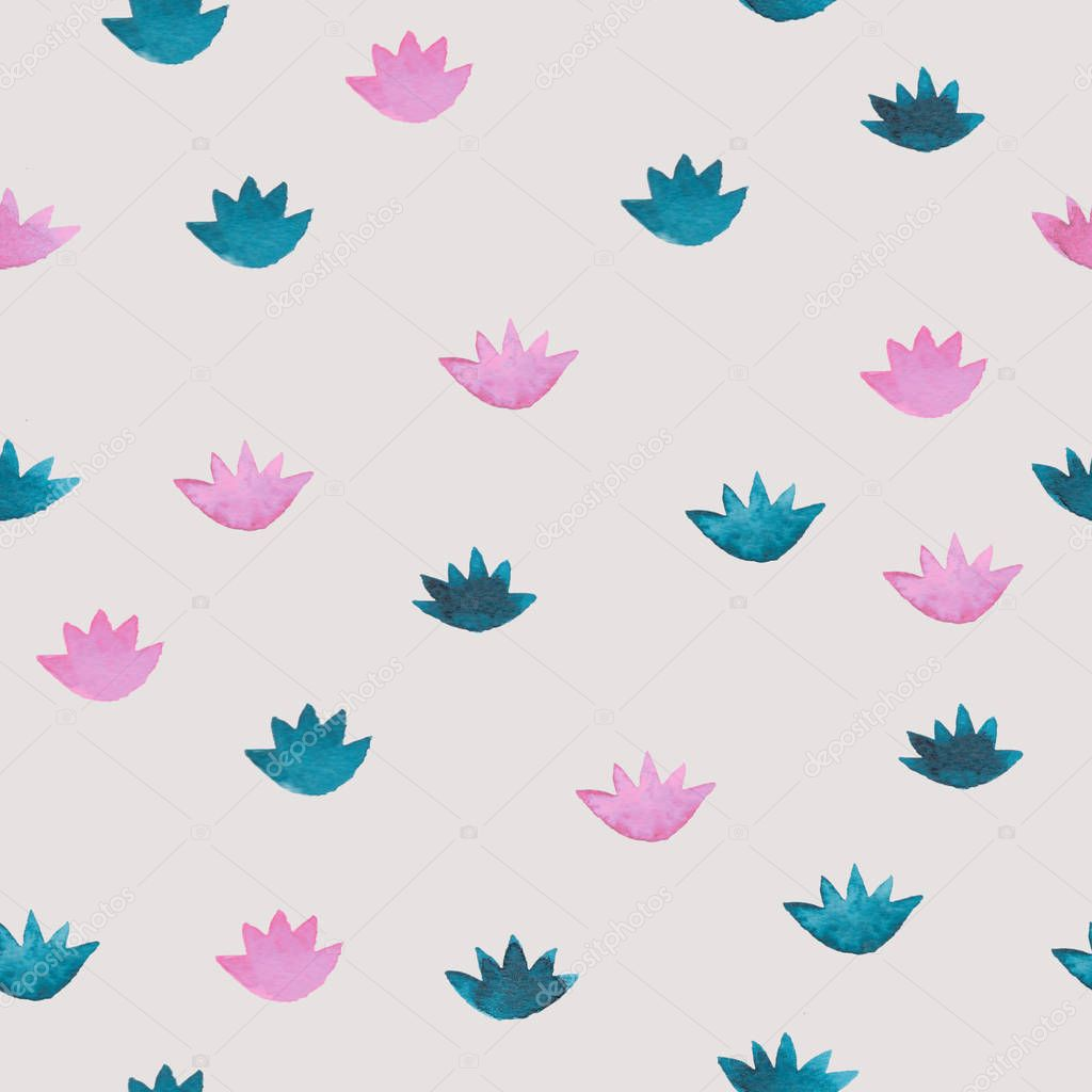 Cute pink and blue watercolor seamless pattern with cartoon style water lillies flowers