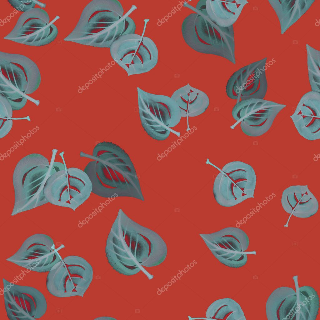 Gray gouache autumn leaves seamless pattern on red terracotta background