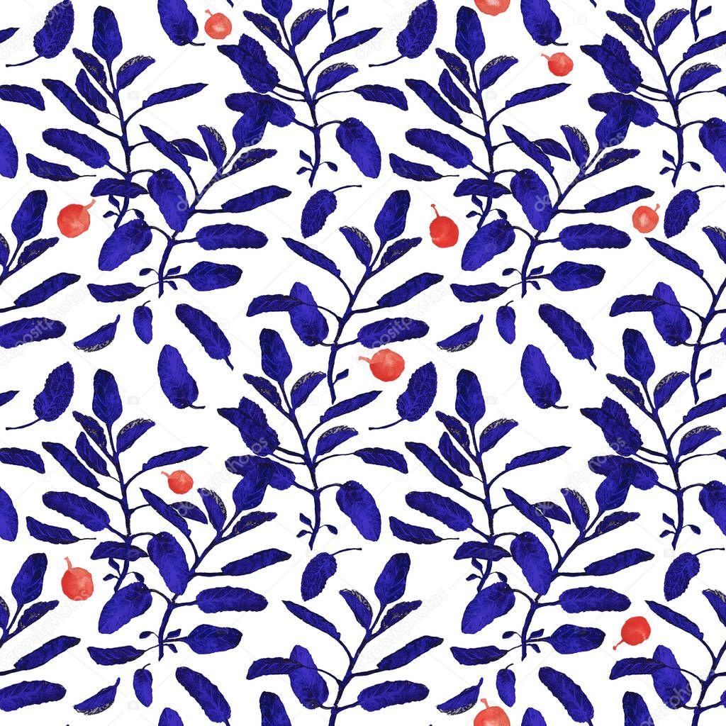 Bright blue sage branch and red berries seamless surface pattern isolated on white background. Botanical modern watercolor illustration