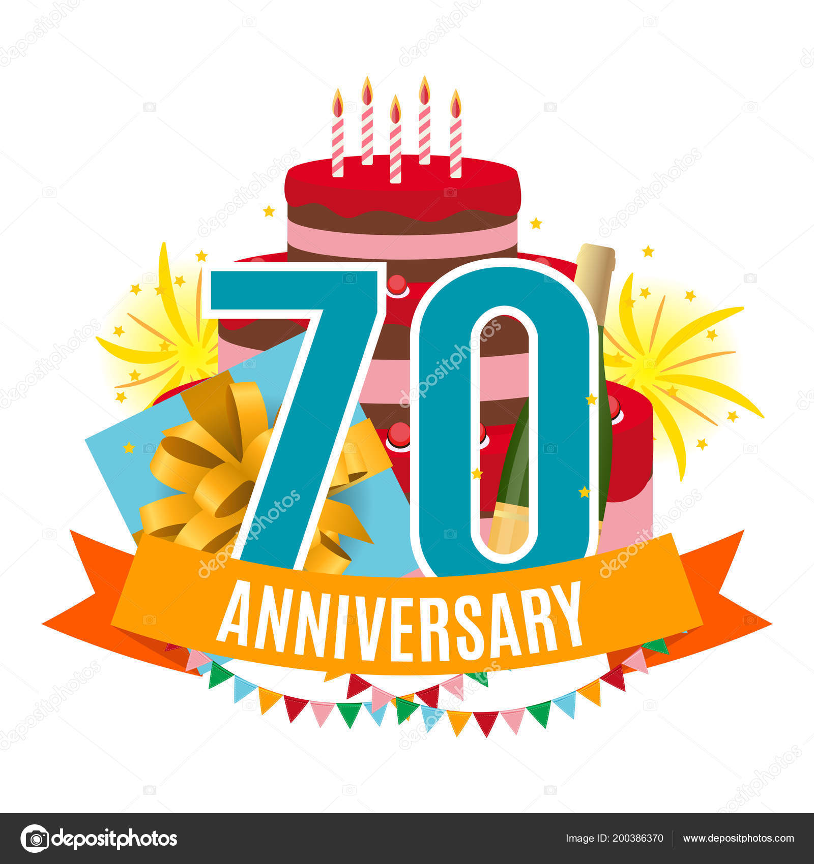 Template 70 Years Anniversary Congratulations Greeting Card with
