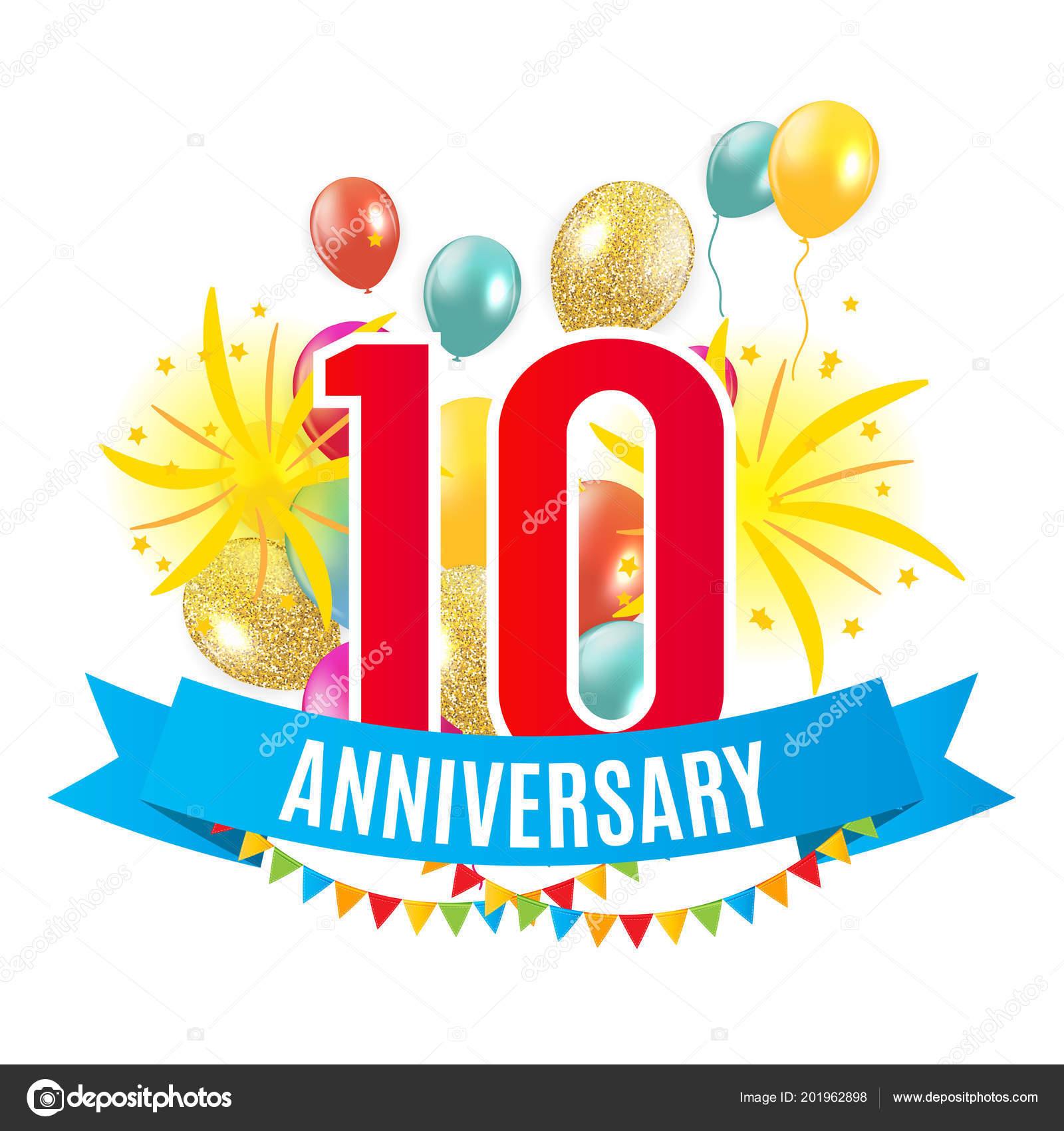 Sjabloon 10 Jaar Verjaardag Gefeliciteerd Wenskaart Met Ballonnen