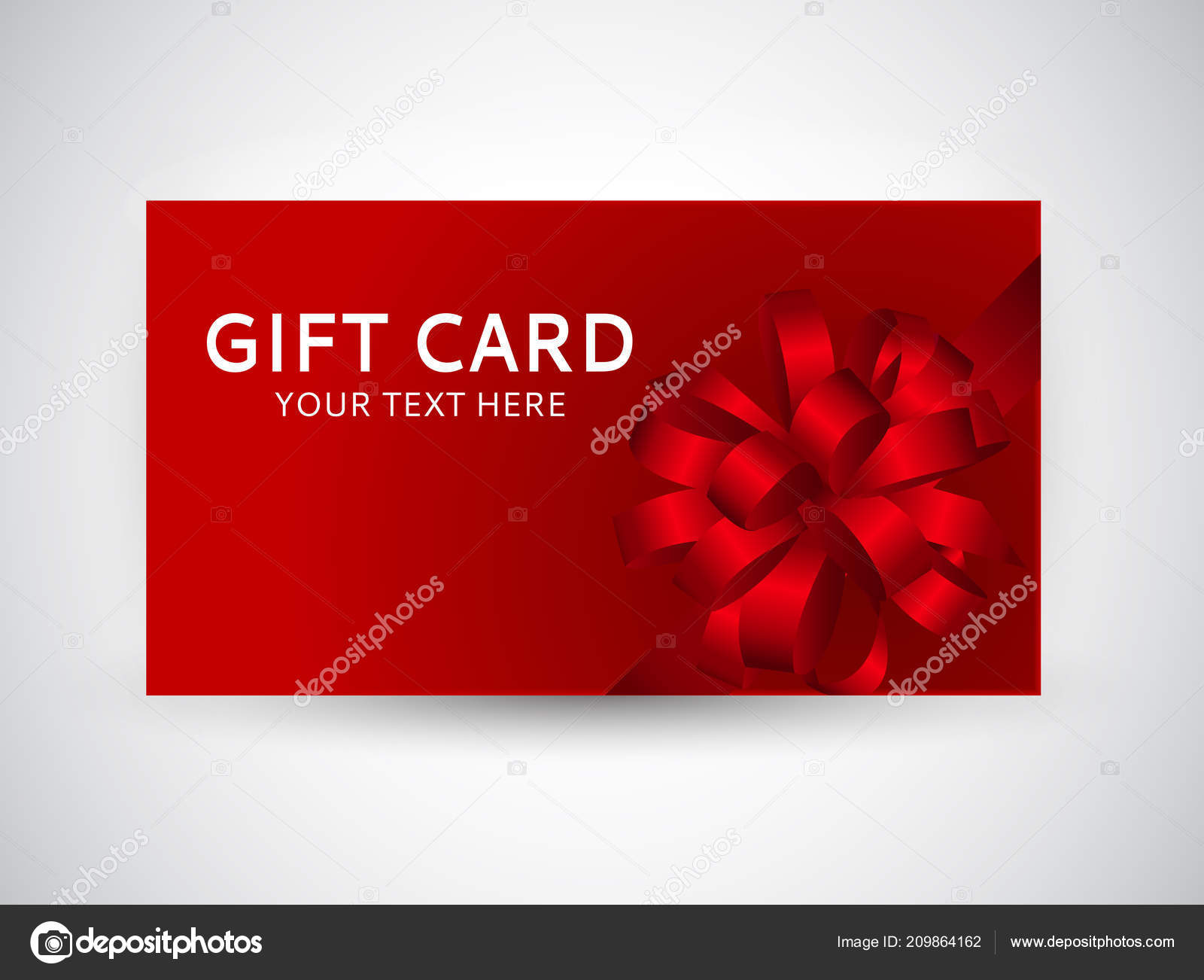 Gift Card Template With Bow And Ribbon Vector Illustration Stock