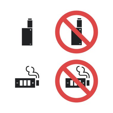Vaping device not allowed forbidding sign. Vector icon illustration isolated on white background clip art vector
