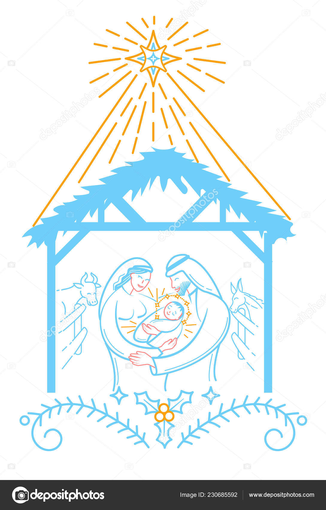 Bible Scene Illustration Nativity Jesus Christ Holy Family Merry ...