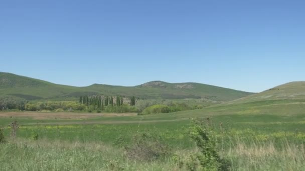 panorama of the valley at the foot of the mountain range
