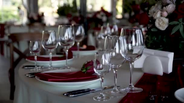 Bankett serviert Hochzeitstische warten auf Gäste