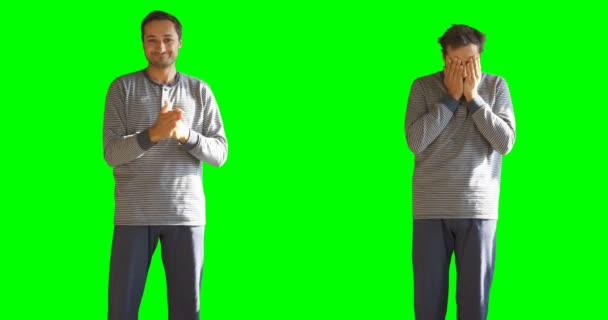 Two states of a person who slept and sleepy Background green screen and alpha channel
