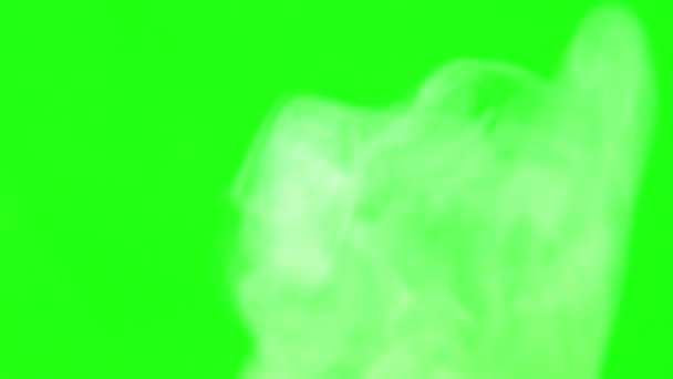 puffs of white smoke on green screen and black background