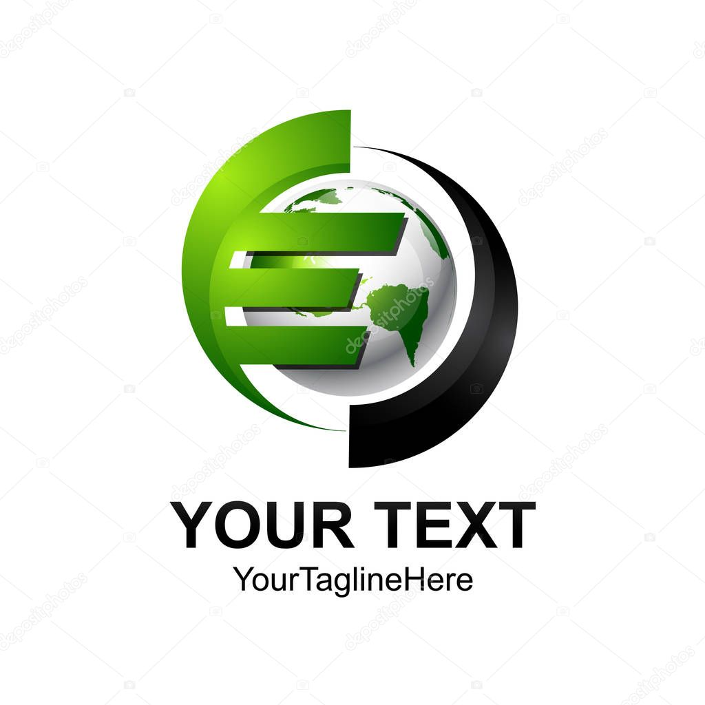 Initial letter E logo template colored silver green sphere design for business and company identity