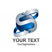Dopis S logem šablona návrhu barevné stříbrné modrý kruh koule šipka design pro obchodní a firemní identitu. Abstraktní počáteční prvek loga abecedy S.