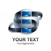 Dopis S logem šablona návrhu barevné stříbrné černý modrý kruh koule design pro obchodní a firemní identitu. Abstraktní počáteční prvek loga abecedy S.