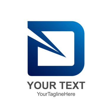 Initial letter D logo design template element colored blue for business and company identity