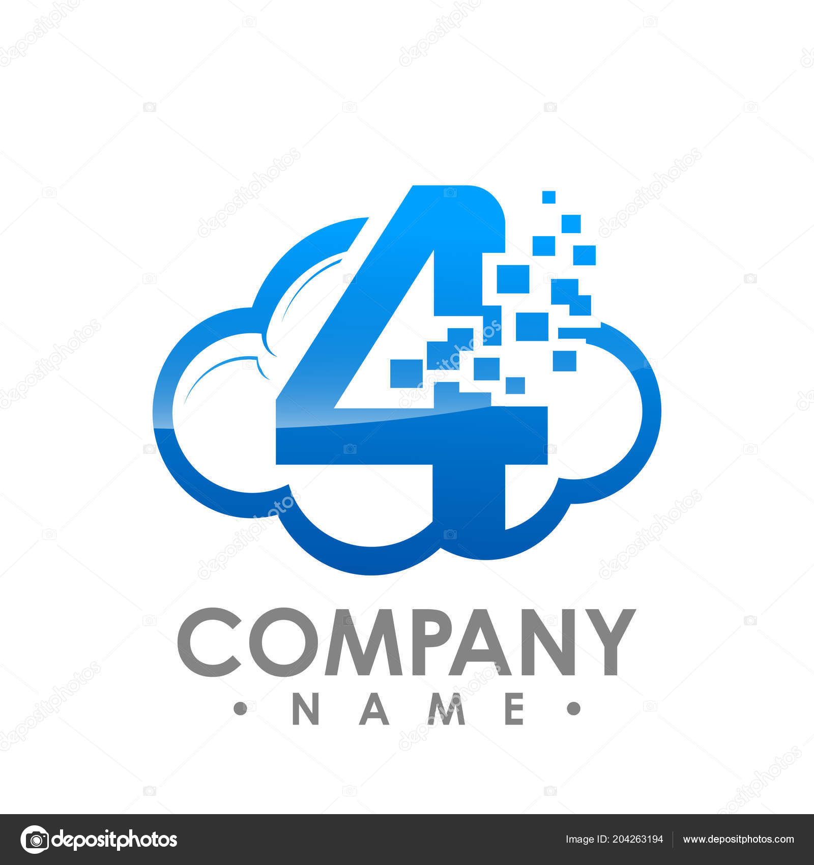 Creative Abstract Data Cloud Number Four Vector Logo Design