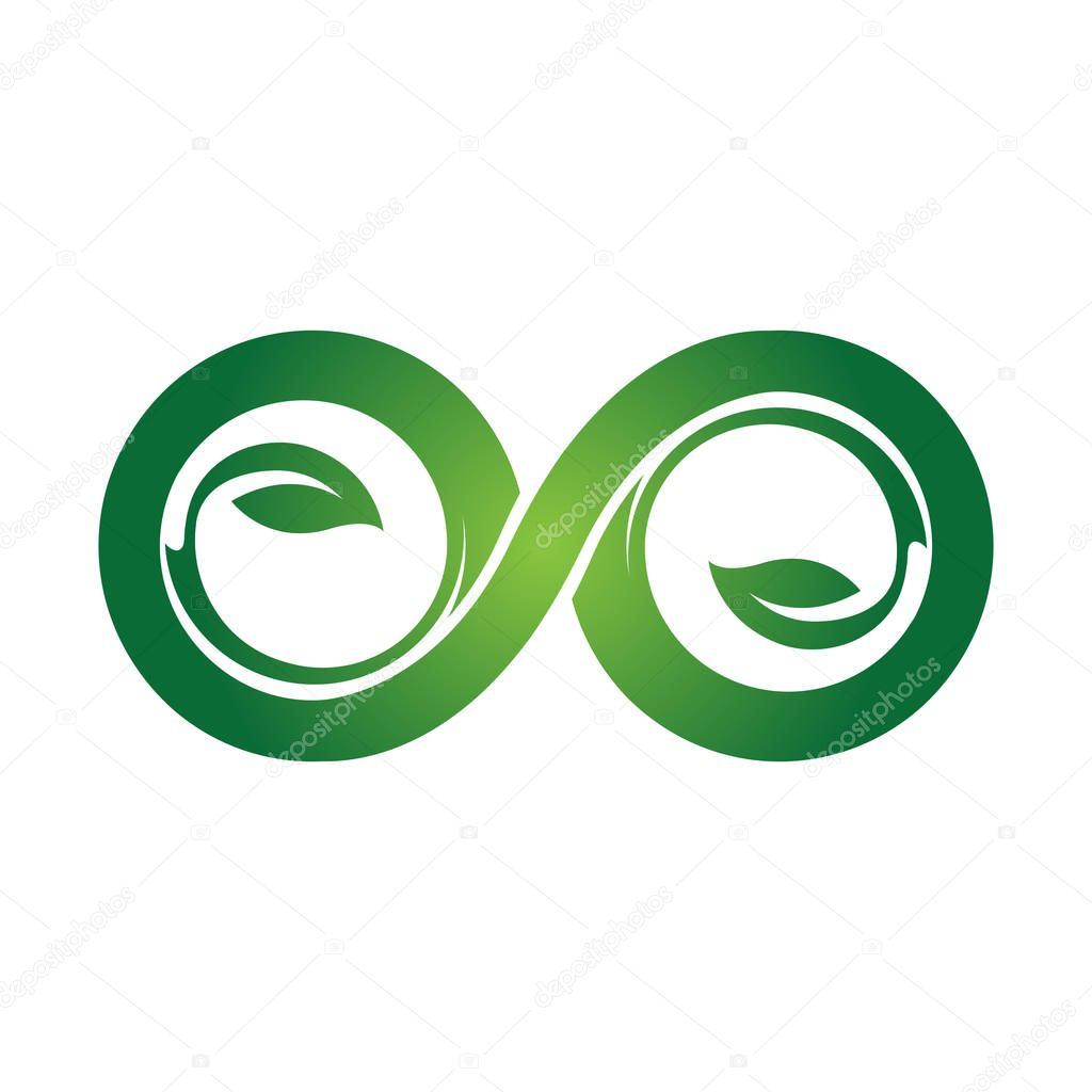 green eco Infinity symbol icons vector illustration. Unlimited, limitless symbol, sign. Infinity icon