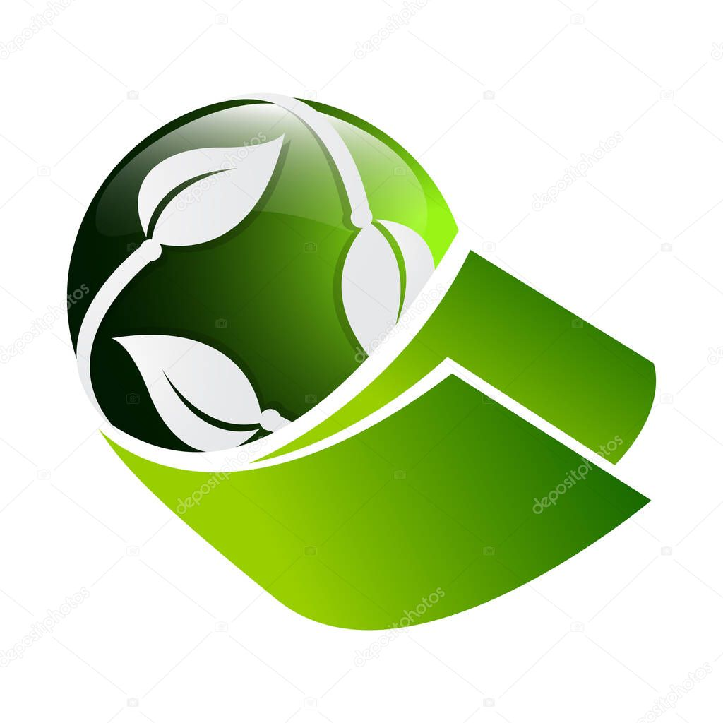 3D circle green leaf ecology nature element vector icon. leaf logo and abstract organic leaf logo. leaf with globe vector