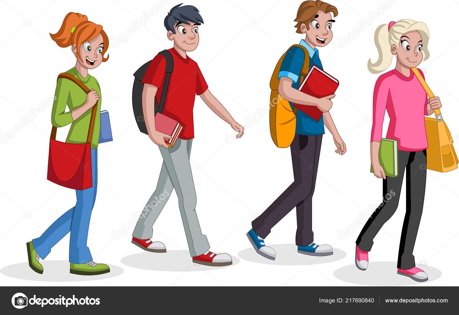 Estudiantes Adolescentes Caminando Jóvenes Dibujos