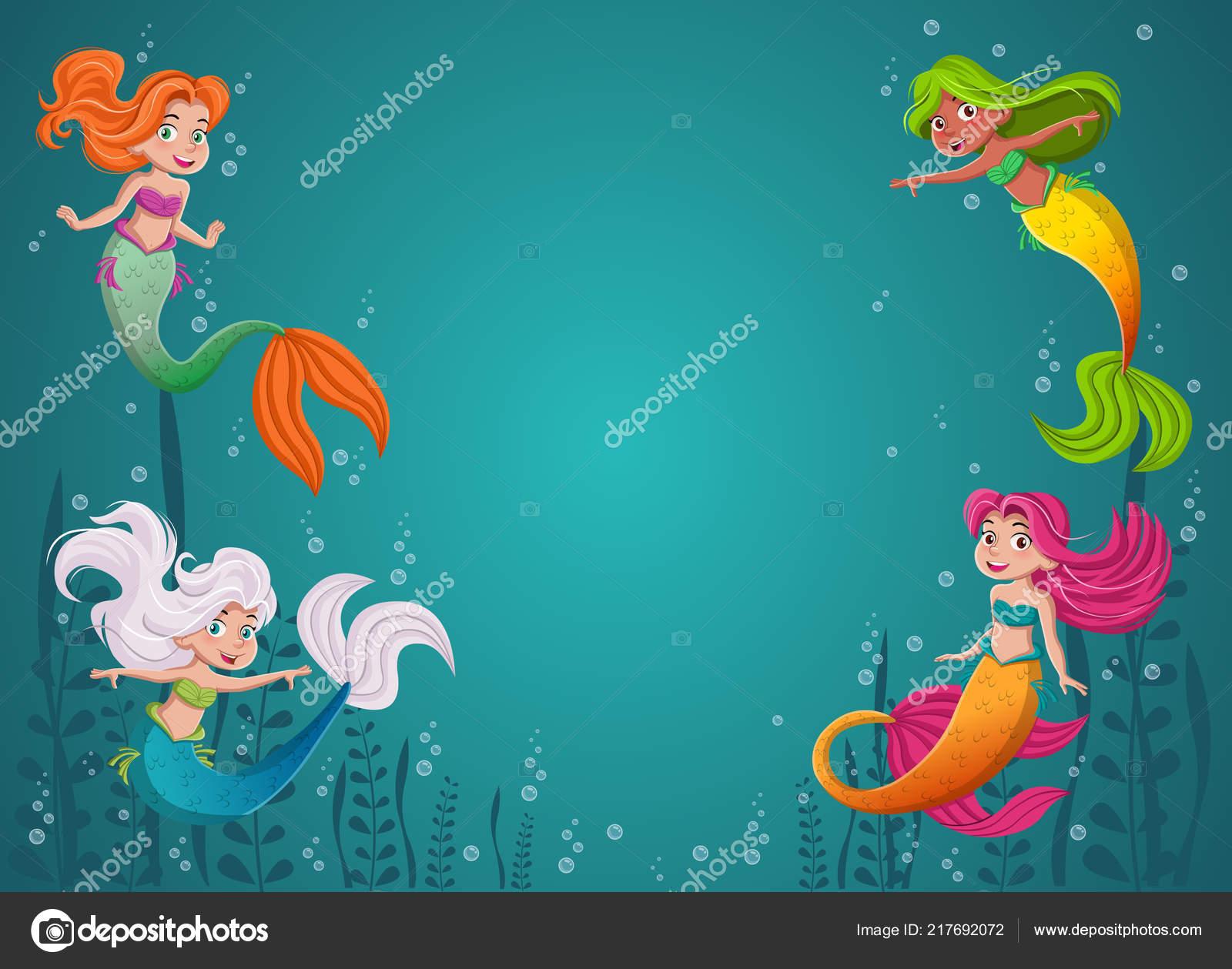 Princesa Sereia Desenhos Animados Com Cabelo Colorido Criancas