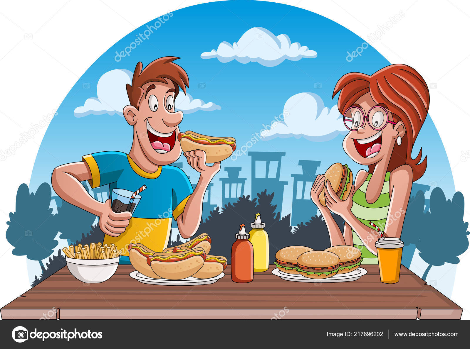 Par Dibujos Animados Personas Comiendo Comida Chatarra