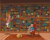 Otec čte knihu svému synovi na knihovnu