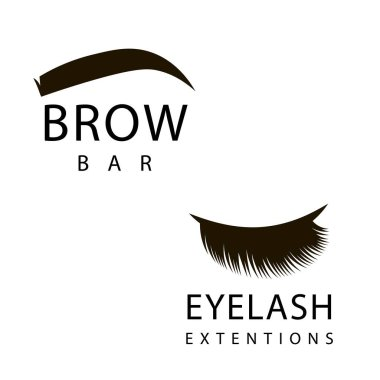 Hand drawn eyelash extension and brow bar logos. Clip art  vector illustration in black and white.