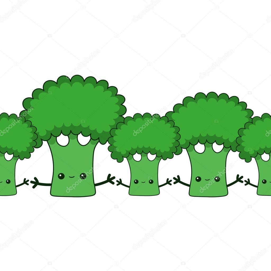 Hand drawn vector kawaii broccoli endless pattern. Cartoon flat broccoli clip art garland.