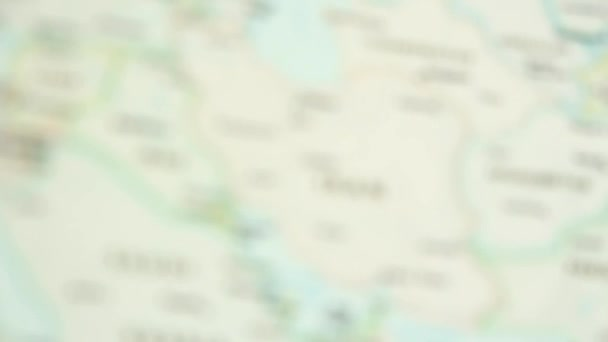 Iran Political Map World Video Defocuses Showing Hiding Map Stock